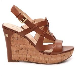 Guess Tabetha Leather Wedge Sandal Size 7.5